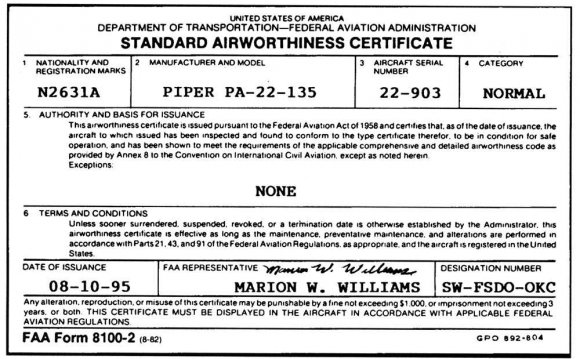 Item 5—Indicates the aircraft
