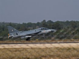 Above and at top - HAL Tejas fighters. Photos via Wikimedia