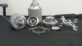 All these metal parts were 3D printed, then polished. Image: GE Aviation
