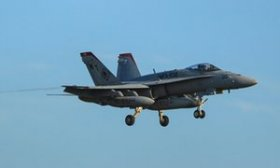 F/A-18 US fighter jet over RAF Lakenheath, similar to the aircraft that crashed