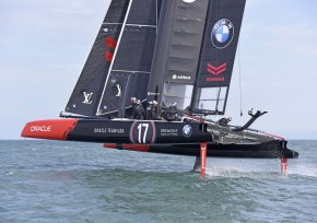 ORACLE TEAM USA competing in the Louis Vuitton America's Cup World Series in Portsmouth, UK on 25 July 2015. Airbus is the Official Innovation Partner of ORACLE TEAM USA.