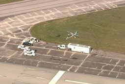 Tragic end: The plane crashed in a grassy area at the northeast corner of the Sebring Regional Airport around 11 a.m.